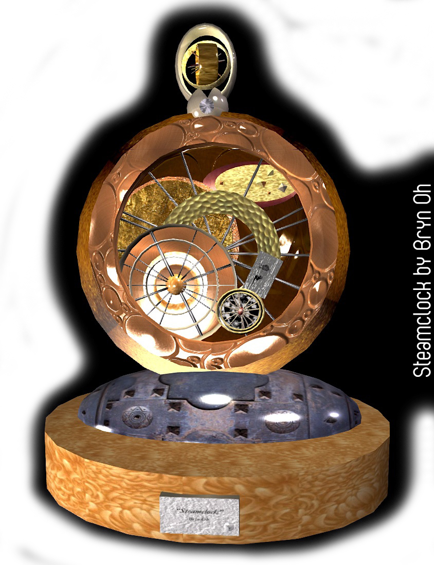 Steamclock by Bryn Oh, podex art gallery, second life